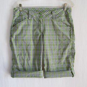 Lole Women's Green Gray Plaid Bermuda Shorts sz8